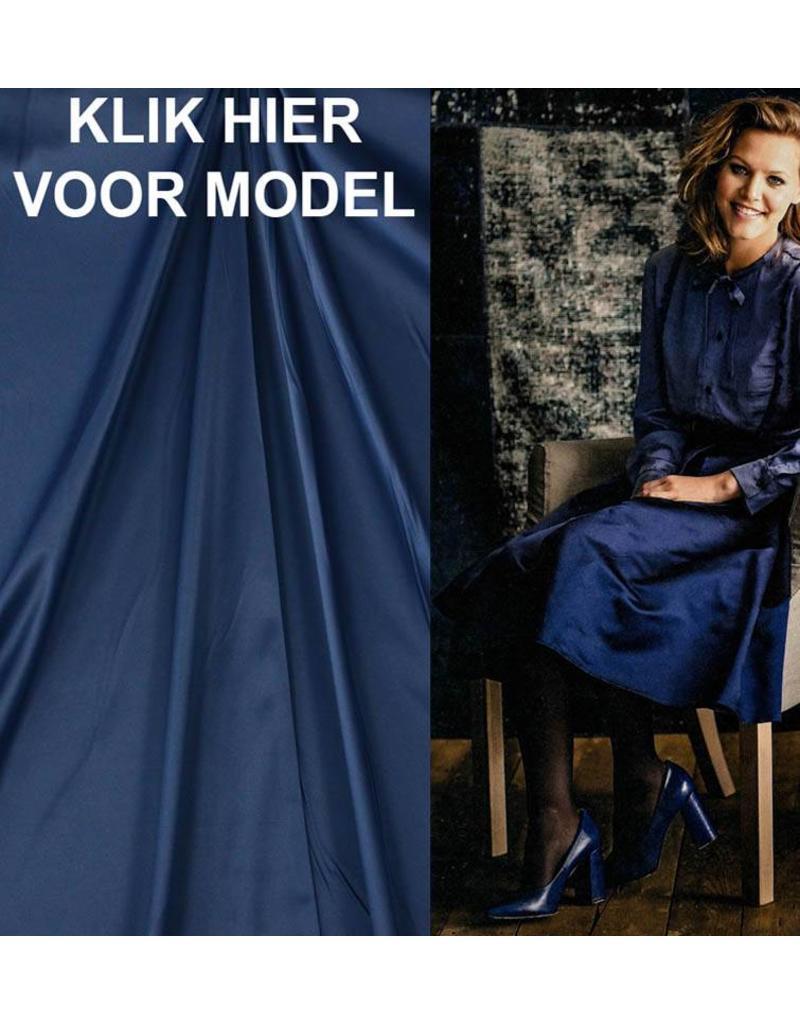 Glänzende Baumwolle Uni S22 - Stahlblau