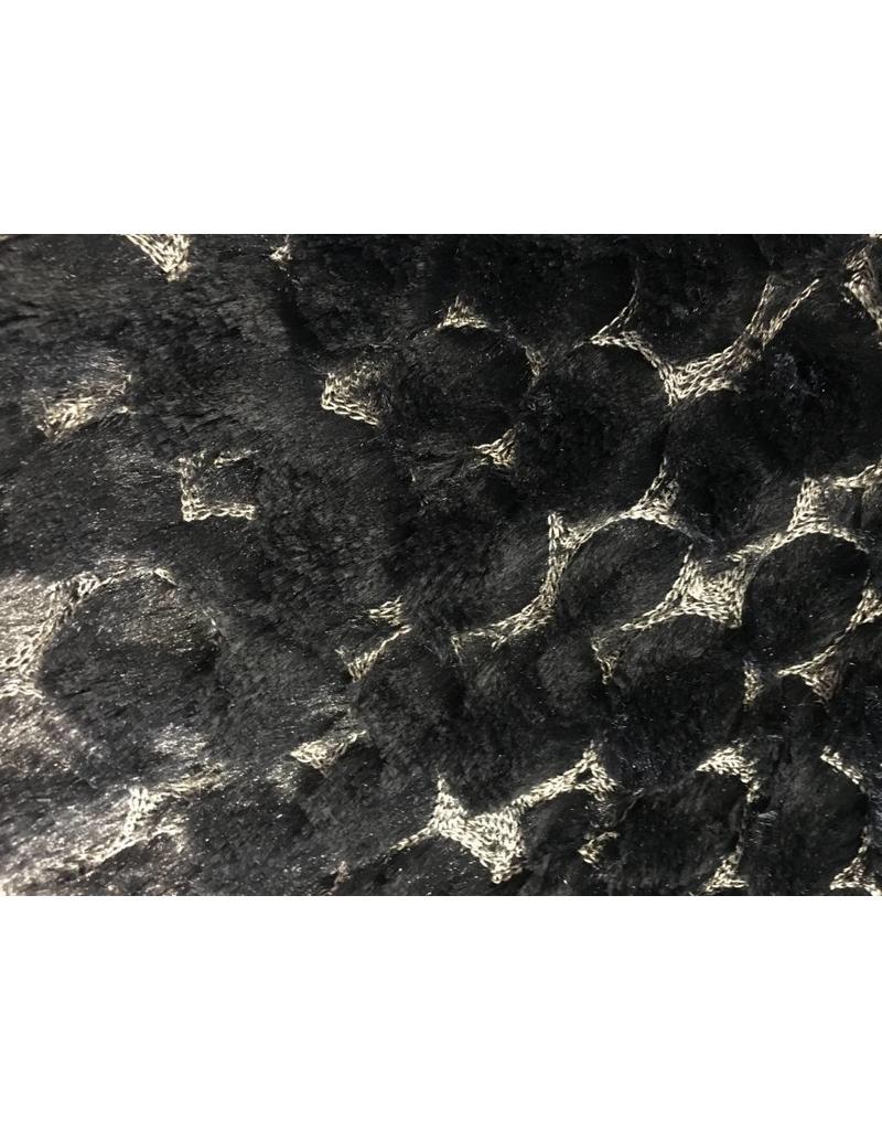 Fur, embroideried, W132 - black