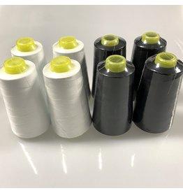 Overlock Yarn - white/black - PACKAGE 8 pc.