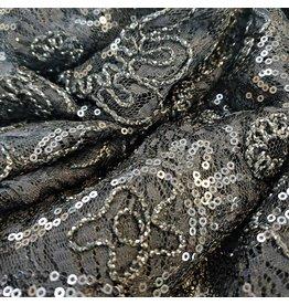 Lace with Sequins KG14 - black