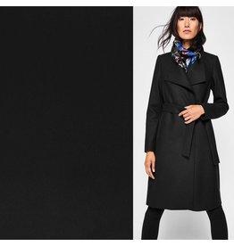 Wollen Mantel Stof KW10 - zwart