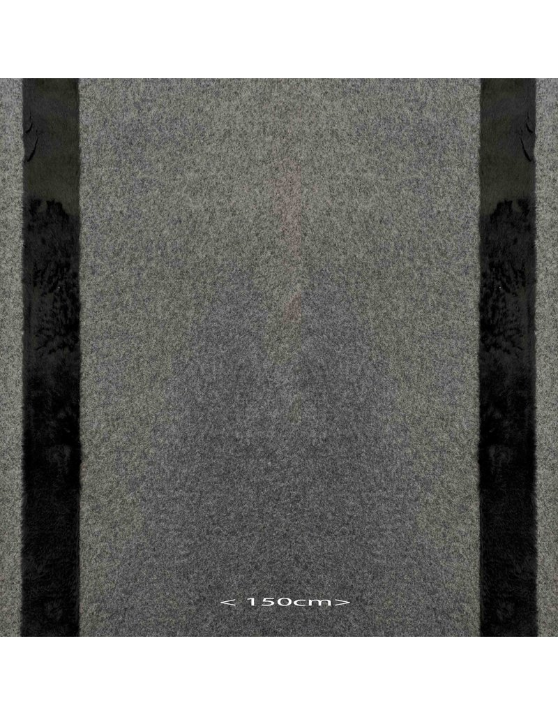 Gekochte Wolle W47 - grau / schwarz