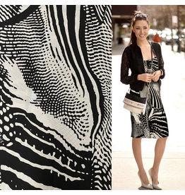 Jersey gaufré 2684 - noir / blanc