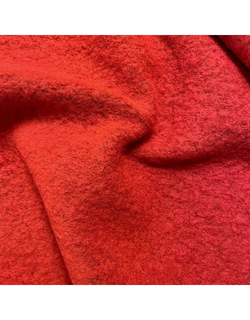 Boiled Wool Uni with mesh W129 - red / black