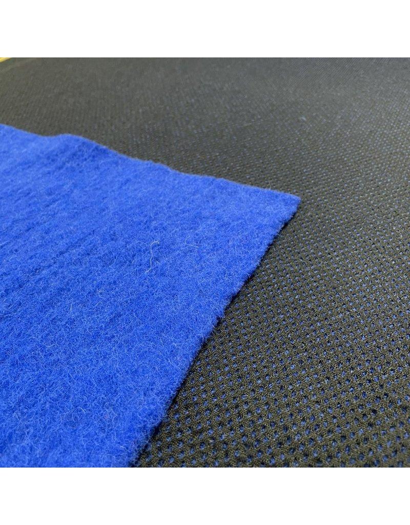 Uni aus gekochter Wolle mit Mesh W128 - Kobaltblau / Schwarz