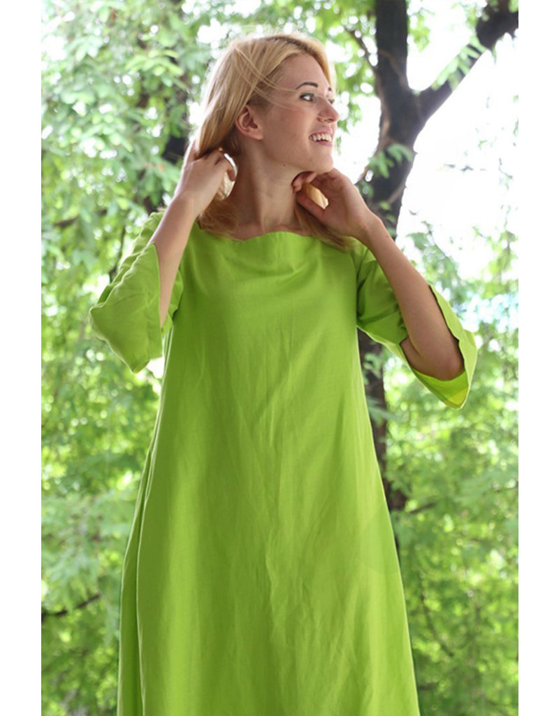 Stretch Linnen L09 - Lime Groen