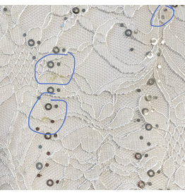 Lace with Sequins KG02 - white - 2nd choice