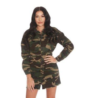La sisters Camouflage Shirt /Dress Army