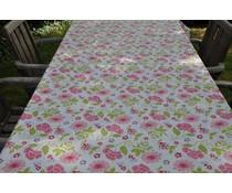 Tafellaken roze bloemen afwasbaar