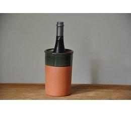 Wijnkoeler van Spaans keramiek met groene rand