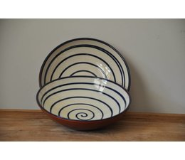 Schaal van Spaanse keramiek. Wit met blauwe cirkels