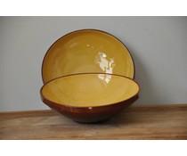 Gele serveerschaal van Spaans keramiek