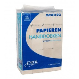 Euro Products Z-Vouwhanddoekjes 2-laags Recycled, 23x25cm (EasyBag)  ECO