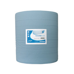 Euro Products Maxi-Poetsrol, Blauw 3-Laags Recycled Blauw, 37cm x 400m