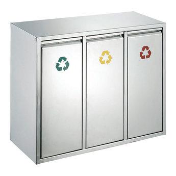 RVS Afvalscheiding / Recycling Afvalbak (3x 15L)