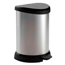 Curver Curver - Kunststof Pedaalemmer DECOBIN, 20L (Zwart / Zilver)
