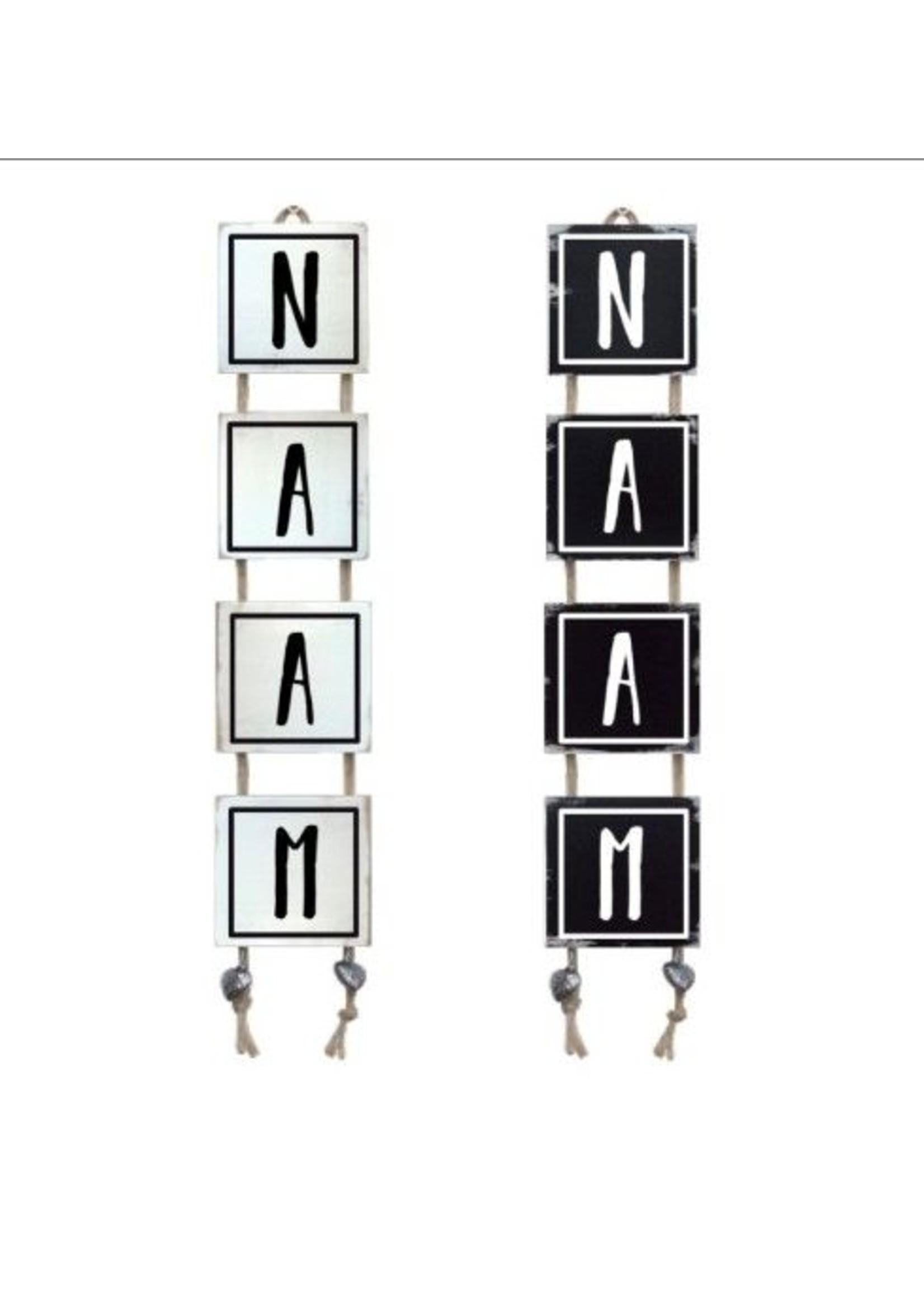 Naamladder zwart/wit