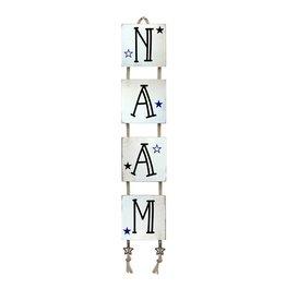 Mbs Design Naamladder sloophout look wit met zwarte tekst