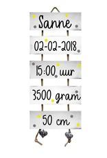 Kraamcadeau Geboorteladder sloophoutlook wit met stippen