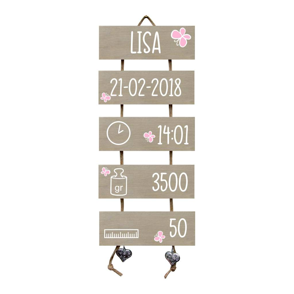 Kraamcadeau Geboorteladder hout Lisa