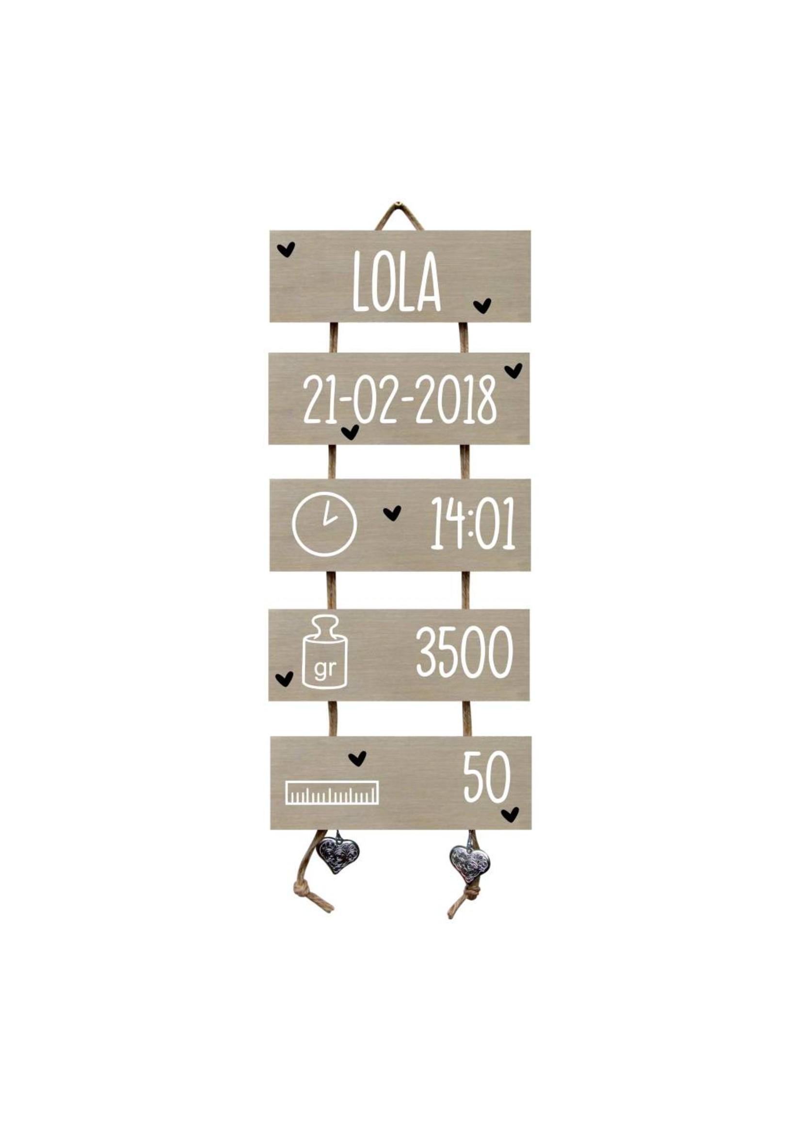 Geboorteladder Lola kraamcadeau