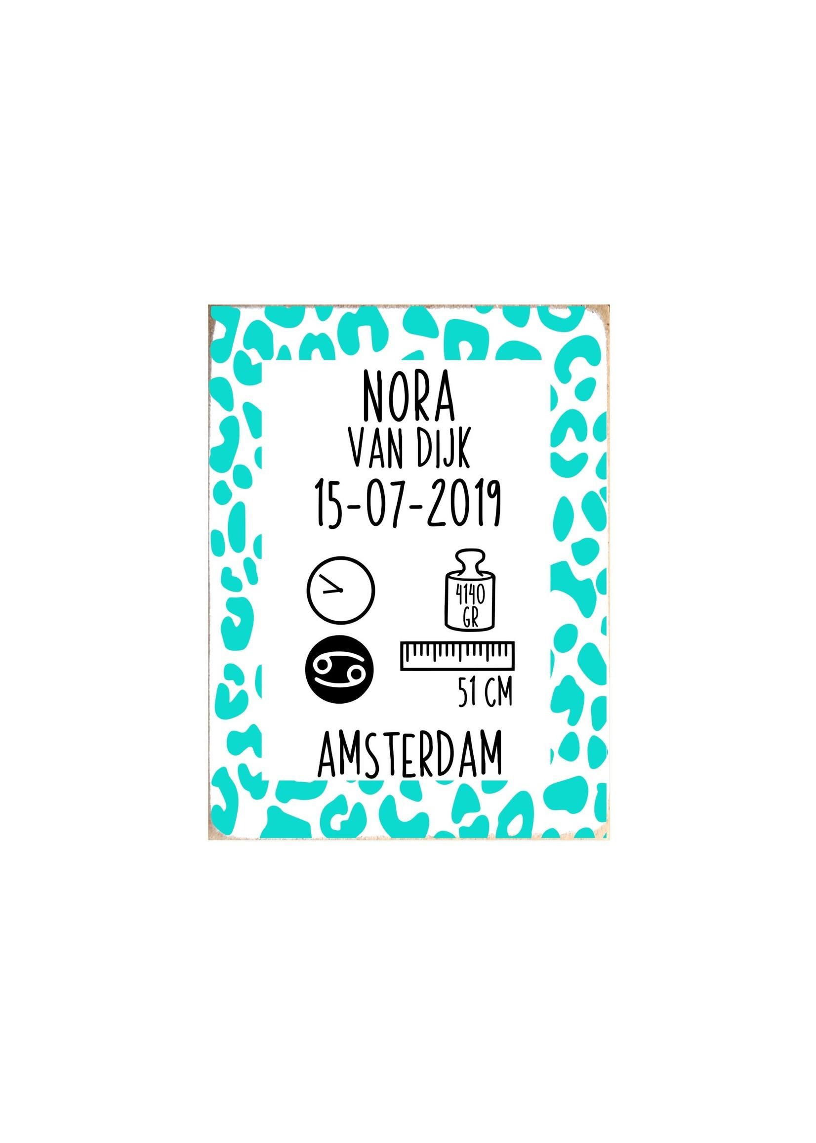Kraamcadeau Geboortebord Nora