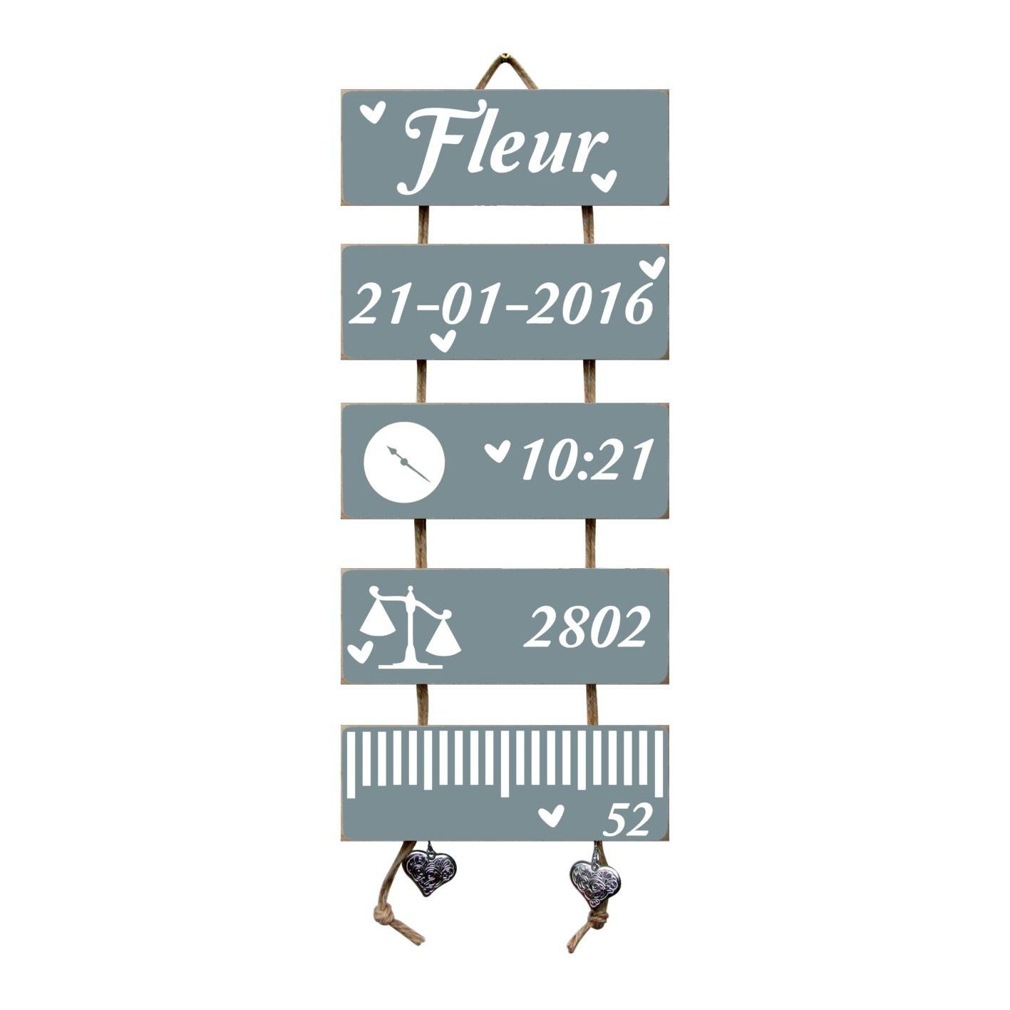 Kraamcadeau Geboorteladder Fleur Denim Drift Flexa