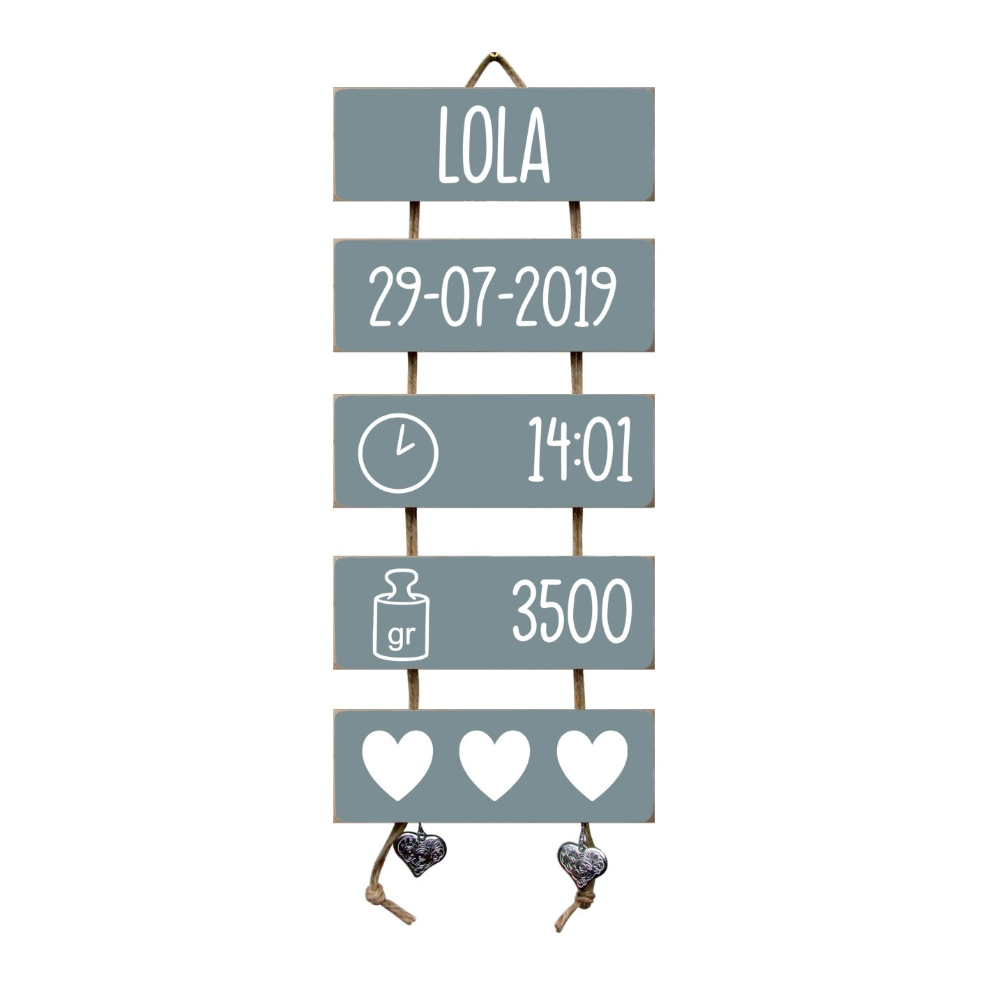 Kraamcadeau Geboorteladder Lola  Denim Drift Flexa