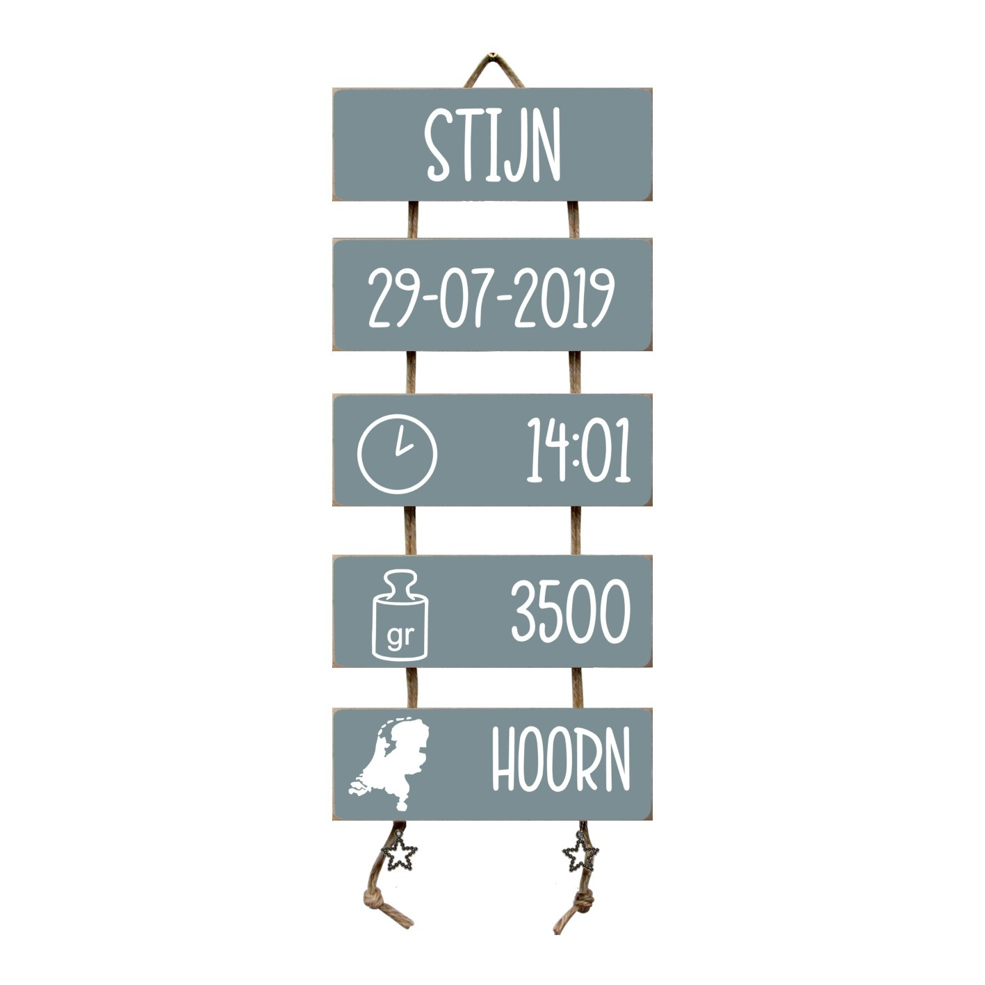 Kraamcadeau Geboorteladder Stijn Denim Drift  Flexa