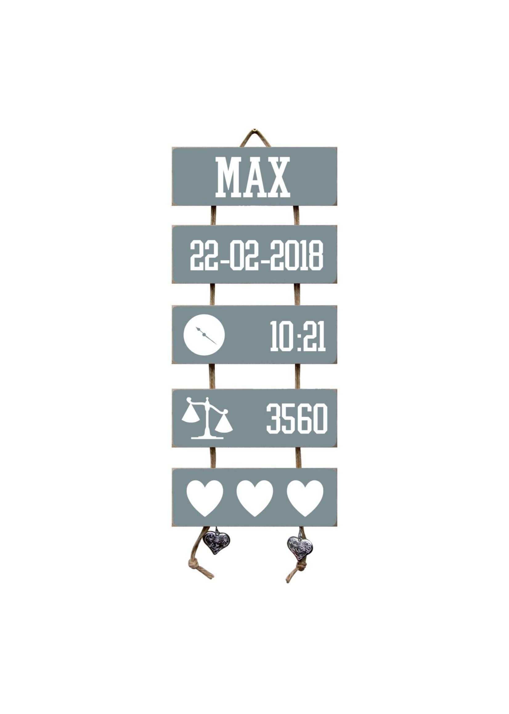 Kraamcadeau Geboorteladder Max Denim Drift Flexa