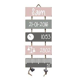 Geboorteladder Sam lichtroze/grijs kraamcadeau