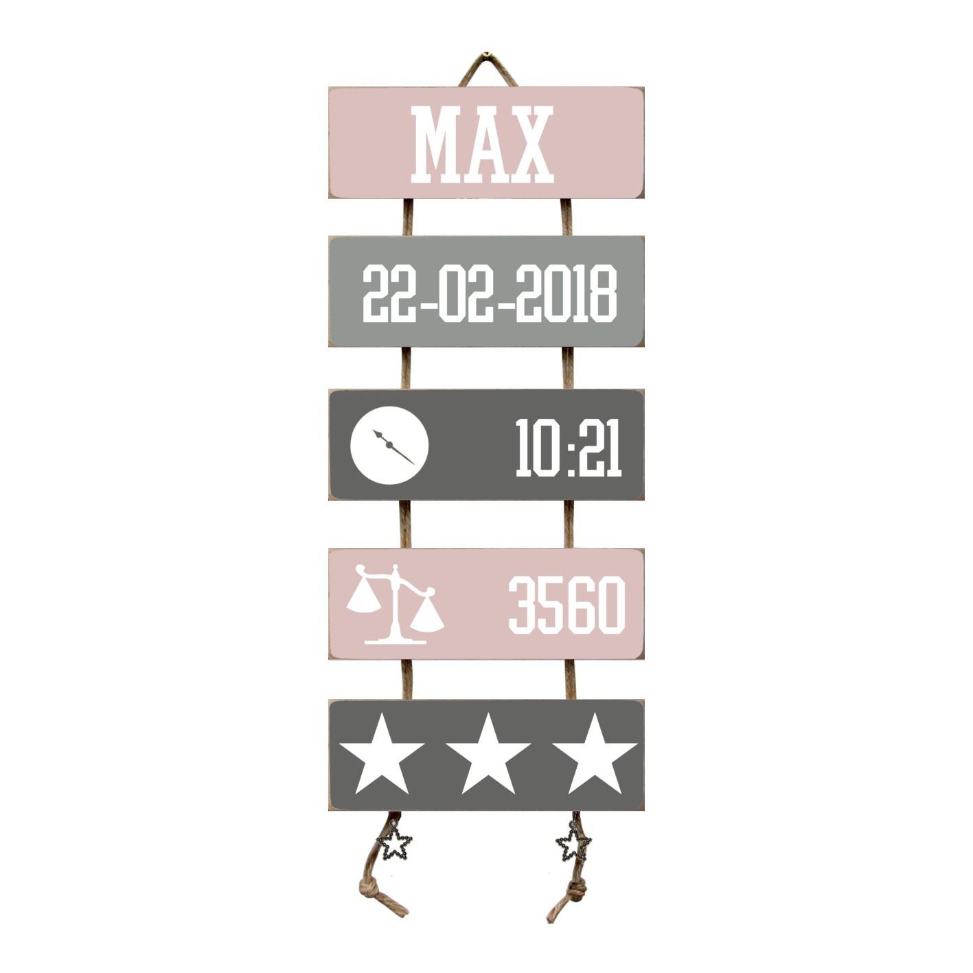 Kraamcadeau Geboorteladder Max lichtroze/grijs
