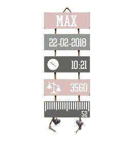 Geboorteladder Max lichtroze/grijs kraamcadeau