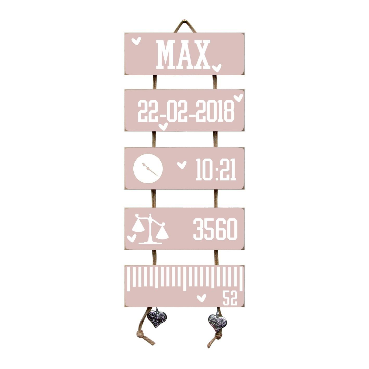 Kraamcadeau Geboorteladder Max lichtroze
