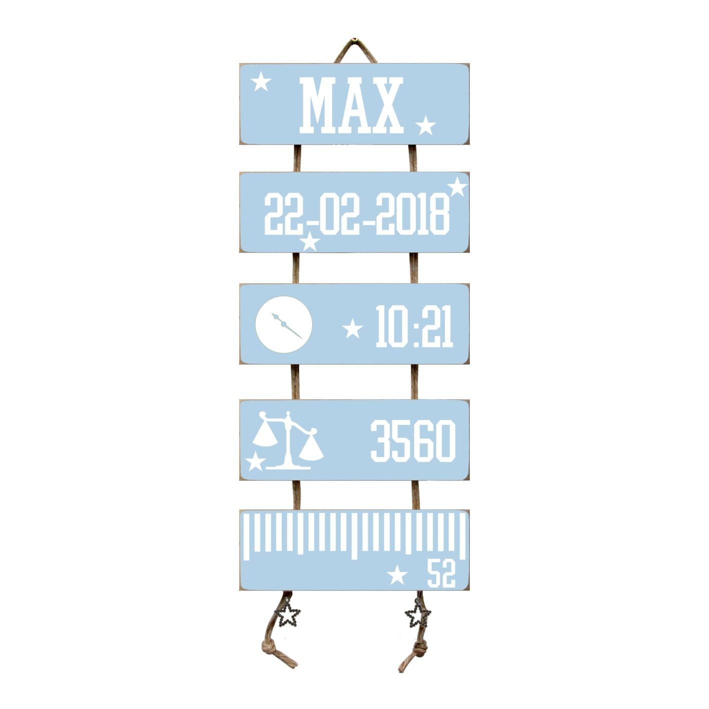 Kraamcadeau Geboorteladder Max lichtblauw