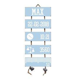 Geboorteladder Max lichtblauw kraamcadeau