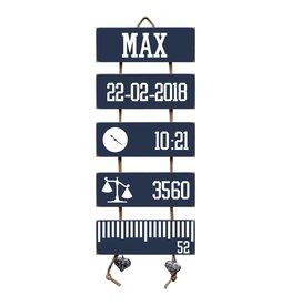Geboorteladder Max donkerblauw kraamcadeau