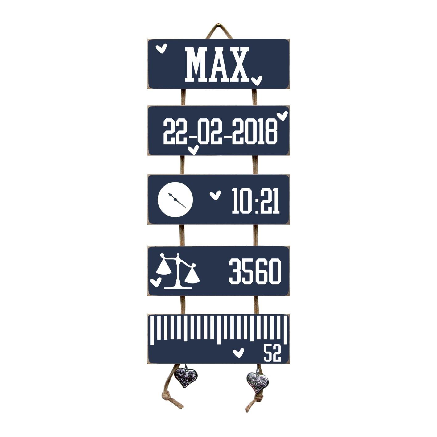 Kraamcadeau Geboorteladder Max donkerblauw