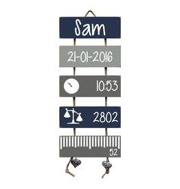 Geboorteladder Sam donkerblauw/grijs kraamcadeau