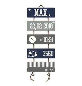 Geboorteladder Max donkerblauw/grijs kraamcadeau
