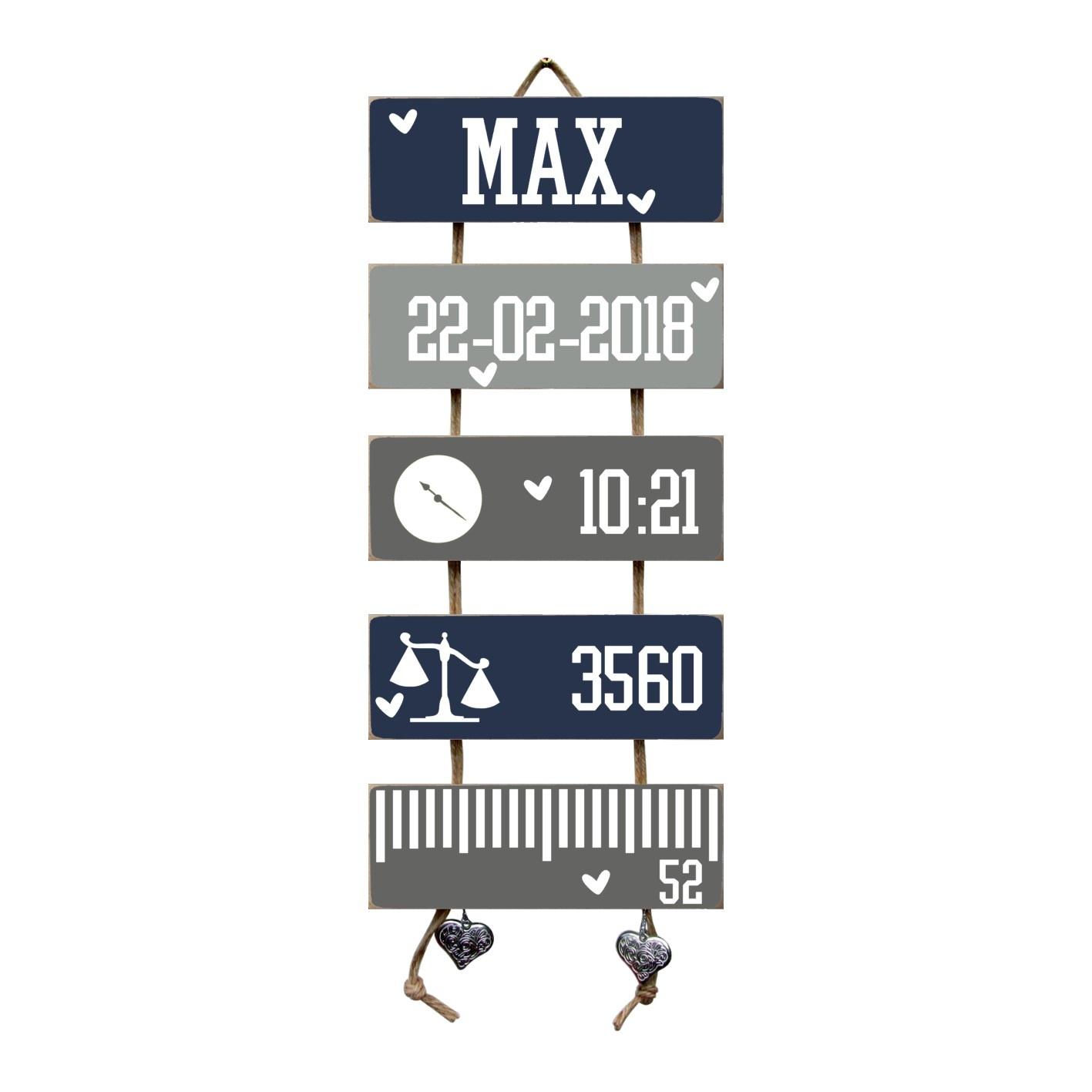 Kraamcadeau Geboorteladder Max donkerblauw/grijs