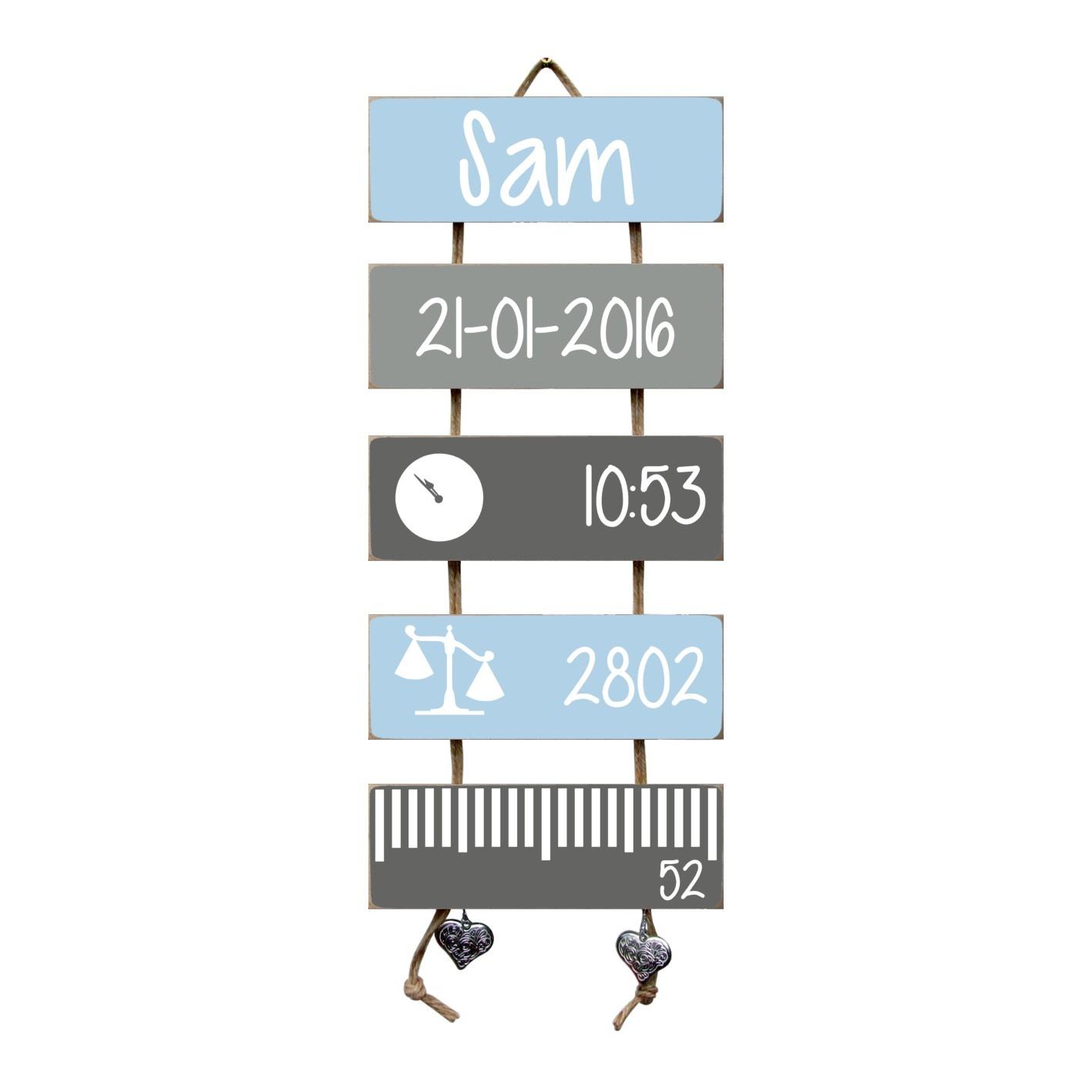 Kraamcadeau Geboorteladder Sam lichtblauw/grijs