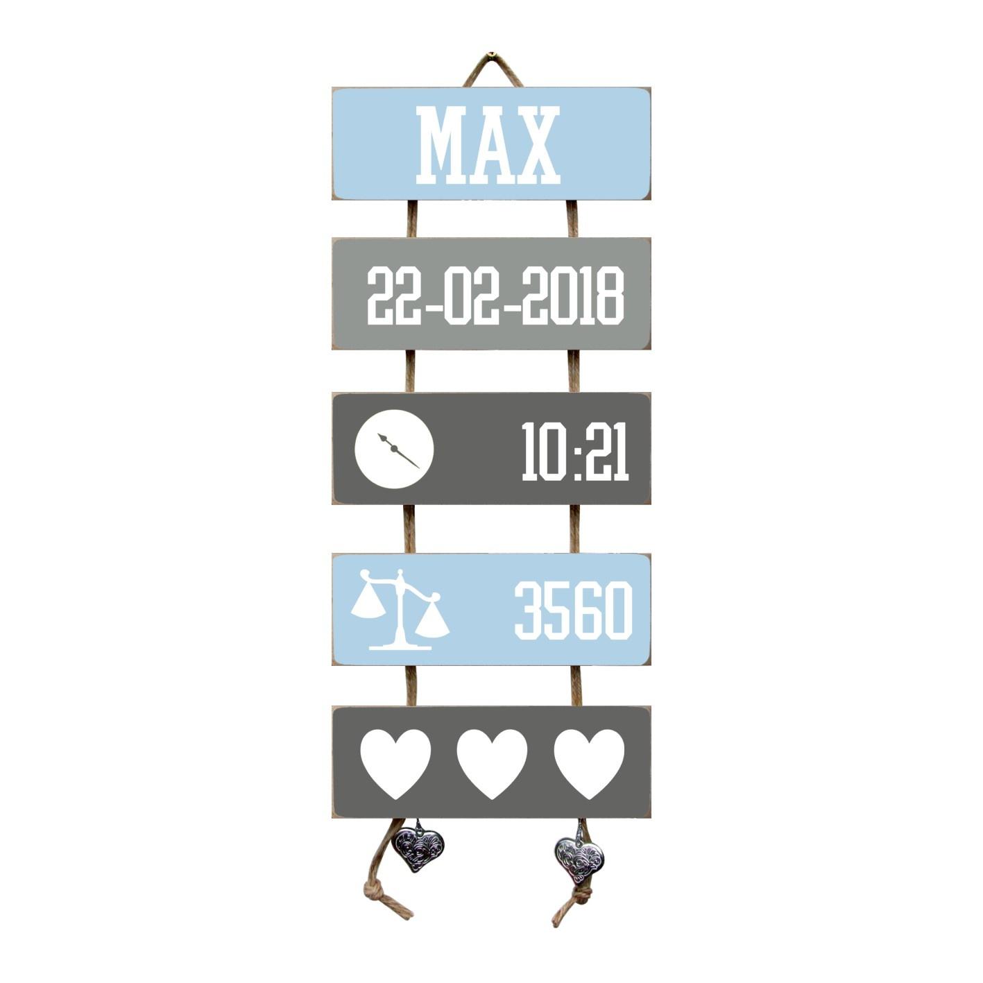Kraamcadeau Geboorteladder Max lichtblauw/grijs