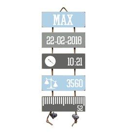 Geboorteladder Max lichtblauw/grijs kraamcadeau