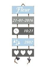 Kraamcadeau Geboorteladder Fleur lichtblauw/grijs