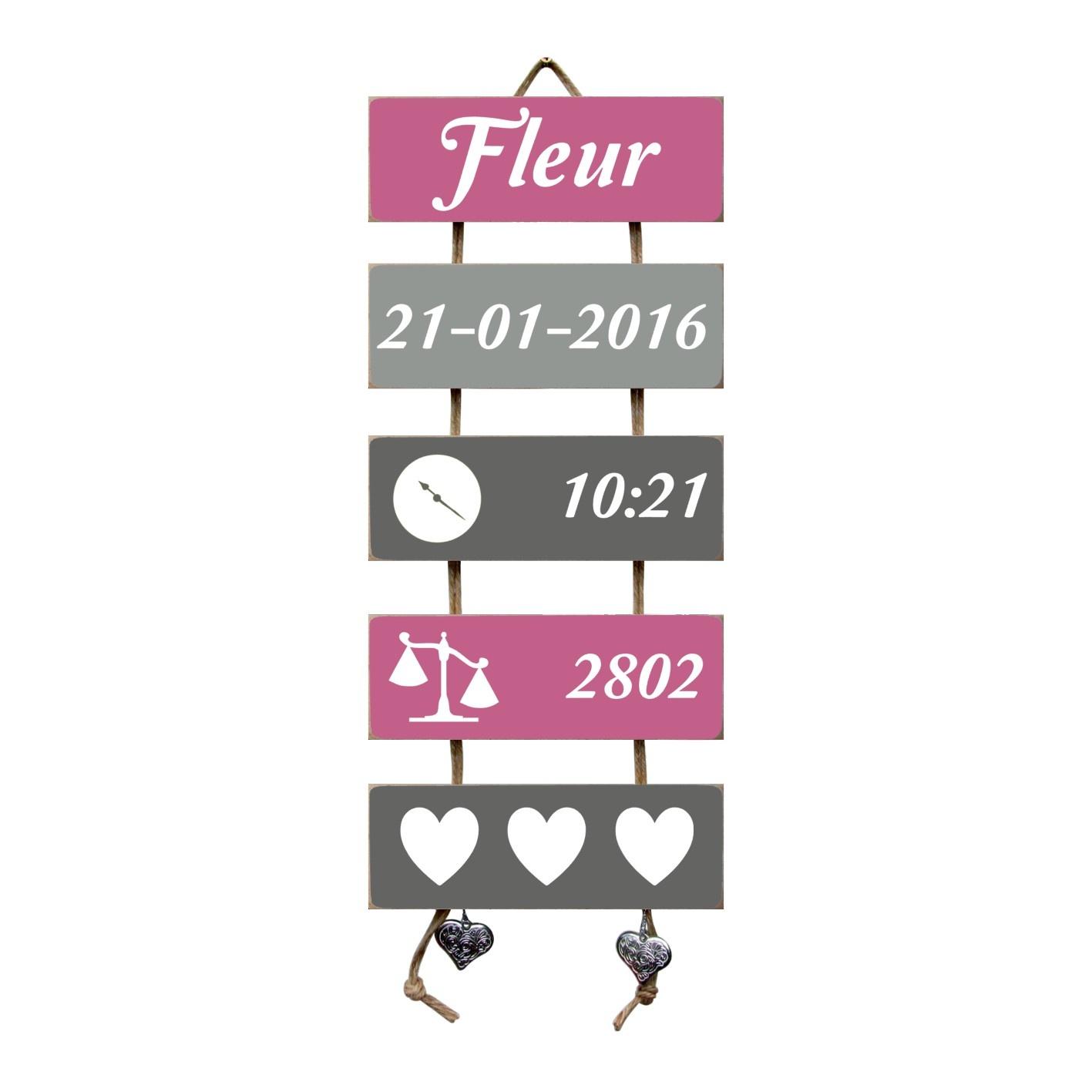 Kraamcadeau Geboorteladder Fleur donkerroze/grijs