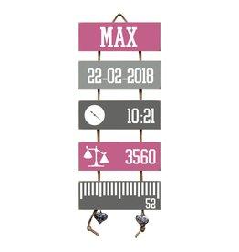 Geboorteladder Max donkerroze/grijs kraamcadeau