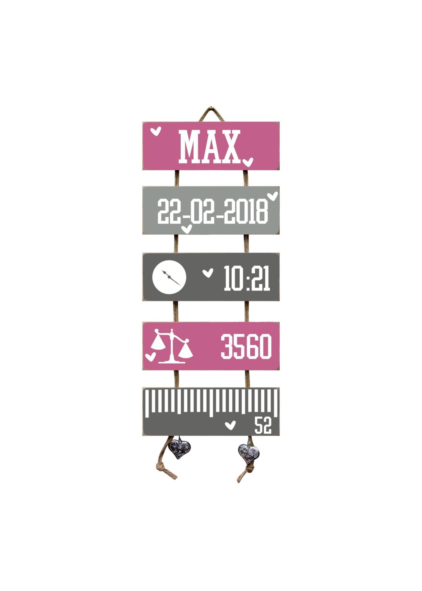 Kraamcadeau Geboorteladder Max donkerroze/grijs