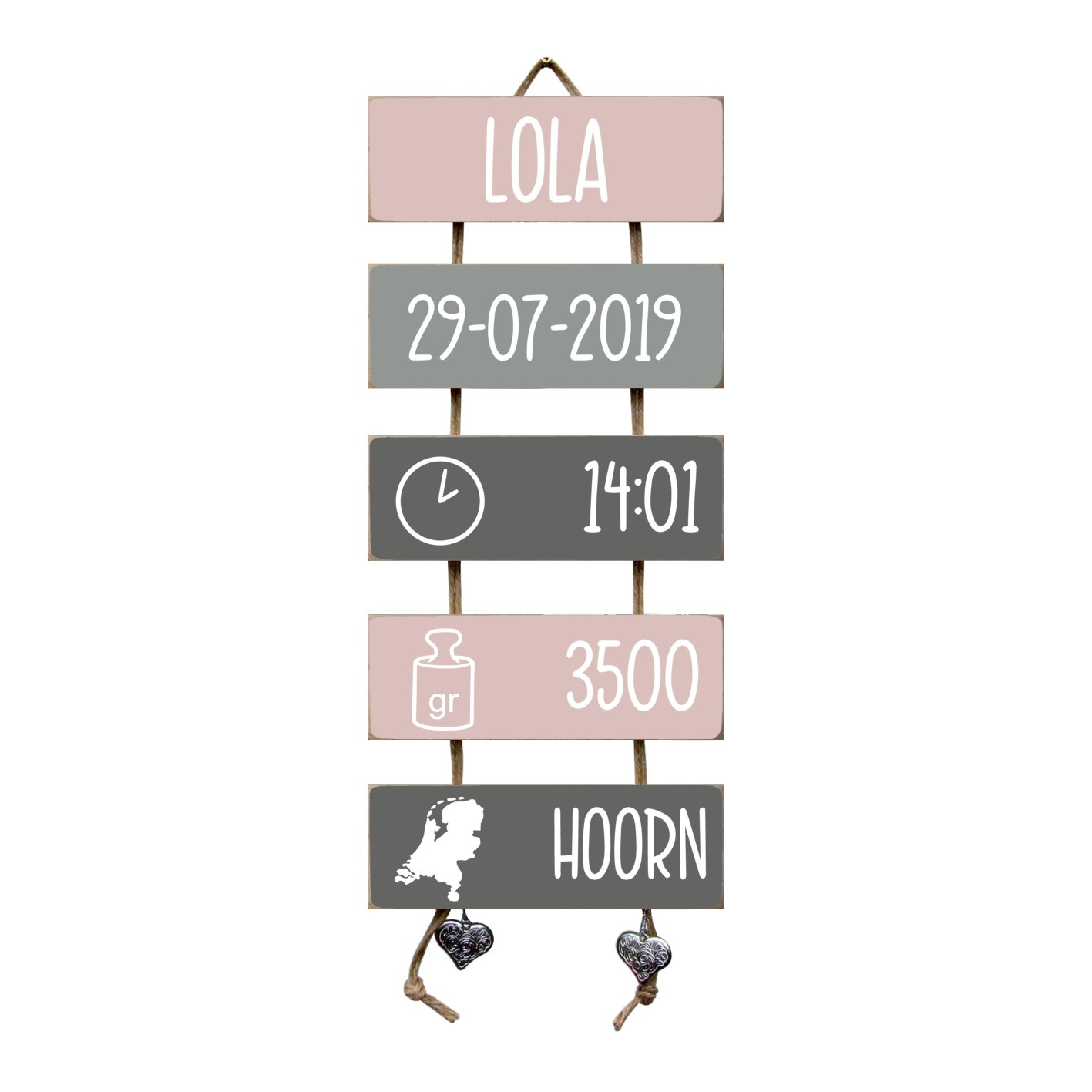 Kraamcadeau Geboorteladder Lola lichtroze/grijs