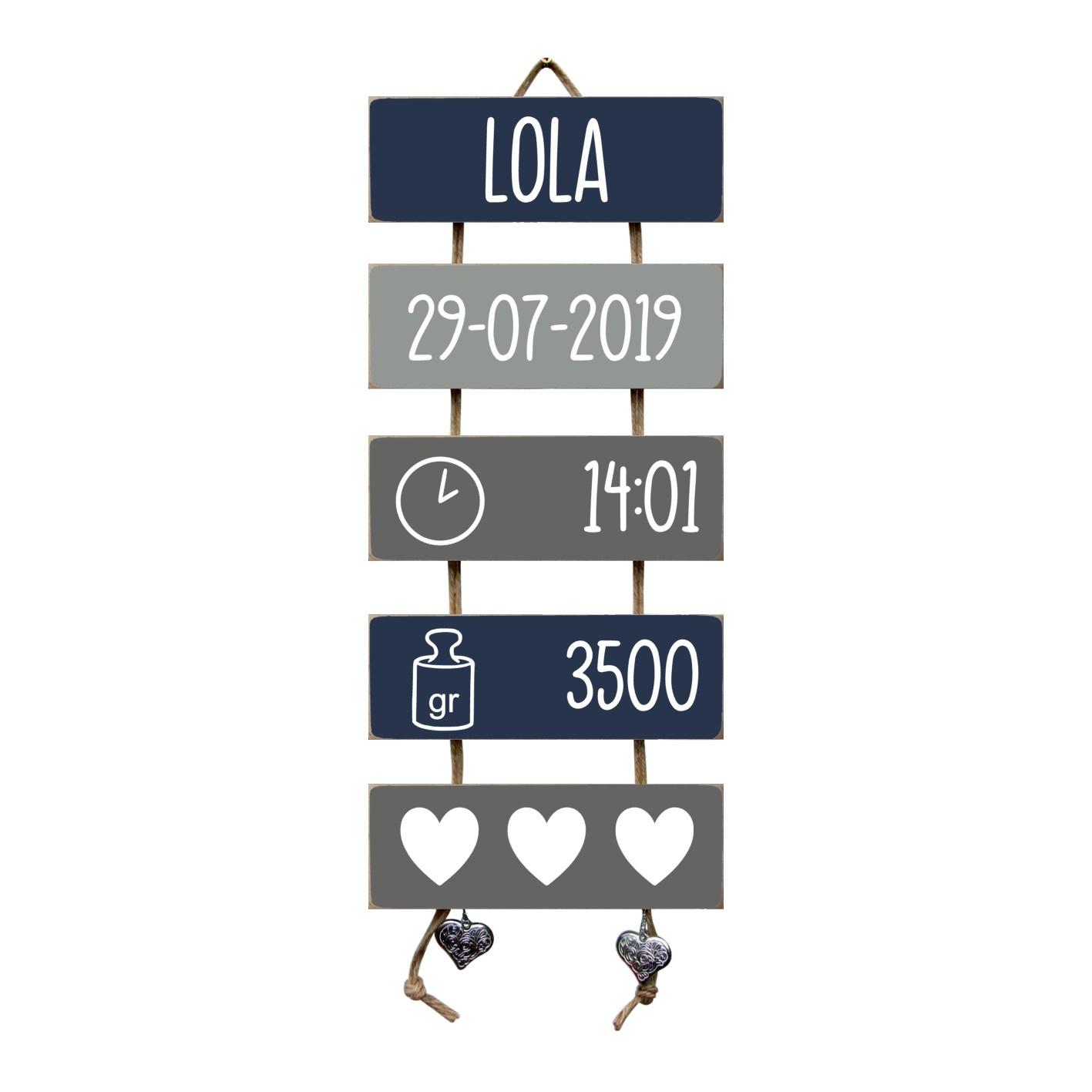 Kraamcadeau Geboorteladder Lola donkerblauw/grijs